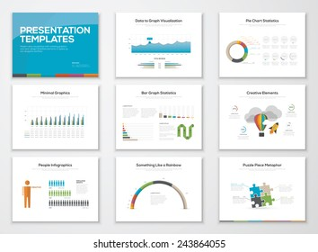 Presentation slide templates and business vector brochures. Big set of modern infographic vector elements for web, print, magazine, flyer, brochure, media, marketing and advertising concepts.