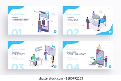 Presentation slide templates or hero banner images for websites, or apps. Business concept illustrations. Modern flat style. Vector