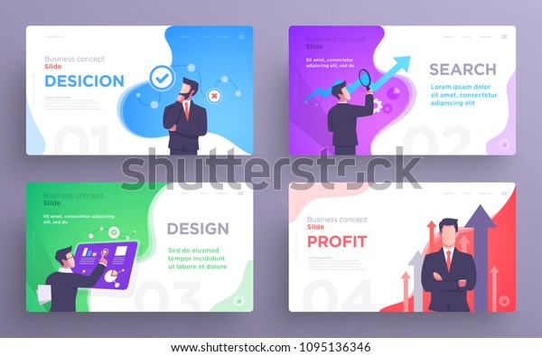 Presentation slide templates or hero banner images for websites, or apps. Business concept illustrations. Modern flat style. Vector