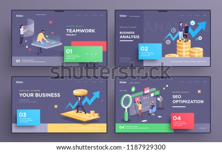 presentation slide templates hero pages websites stock vector