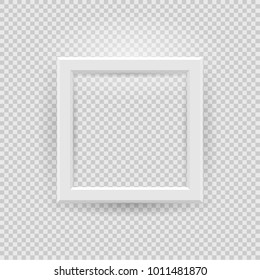 Presentation square picture frame design with shadow on transparent background. 3D Board Banner Stand on isolated clean blank table Vector illustration EPS 10 for photo, image, text promotional