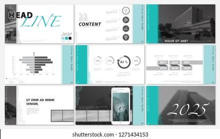 Presentation template. 2020. Green, black, white background. Multipurpose template for slides, business infographics. Postcard, brochure, corporate report, marketing, advertising, text, digital,vector