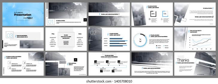 Presentation template, blue and black infographic elements on white background.  Vector slide template for business project presentations and marketing.