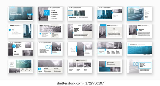 Presentation template, blue infographic elements on white background.  Vector slide template for business project presentations and marketing.