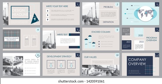 Presentation template. Elements for slide presentations. Use also as a flyer, brochure, corporate report, marketing, advertising, annual report, banner.Blue, gray.