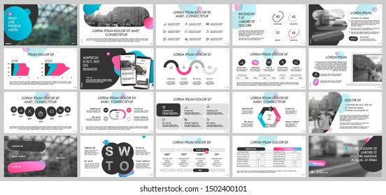 Presentation template, Gradient and black infographic elements on white background.  Vector slide template for business project presentations and marketing.