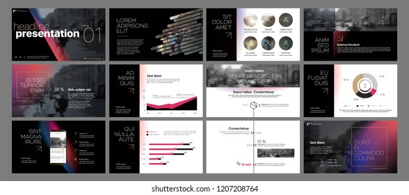 Presentation template. Gradient elements for slide presentations on a black background. Use also as a flyer, brochure, corporate report, marketing, advertising, annual report, banner. Vector