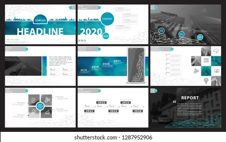 Presentation template. Green, black, white background. Multipurpose template for slides, business infographics. Postcard, brochure, corporate report, marketing,advertising, text, digital, photo,vector