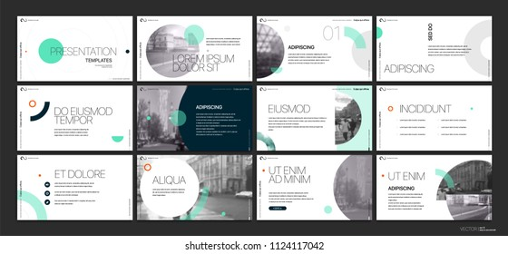 Presentation template. Green geometric elements for slide presentations on a white background. Use also as a flyer, brochure, corporate report, marketing, advertising, annual report, banner. Vector