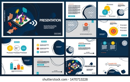 Presentation template, liquid forms. Isometric elements for slide presentations on a white and blue background. Flyer, brochure, corporate report, marketing, advertising, annual report, banner