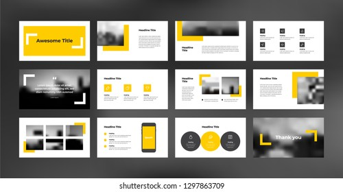 Presentation template with minimal and modern design style. Yellow color theme. Suitable for any project purpose like company profile, brochure, proposal, annual report and advertising.