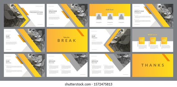 Presentation template with minimal and modern design style. Gradient Yellow color theme. Suitable for any project purpose like company profile, brochure, proposal, annual report and advertising.