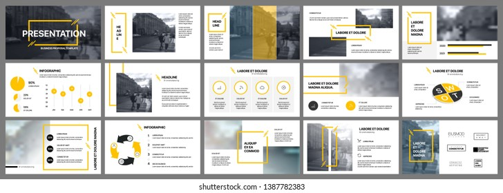 Presentation template, orange and black infographic elements on white background.  Vector slide template for business project presentations and marketing.