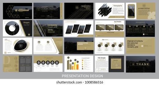 presentation template for promotion, advertising, flyer, brochure, product, report, banner, business, modern style on black and brown color background. vector illustration