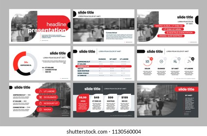 Presentation template. Red black elements for slide presentations on a white background. Use also as a flyer, brochure, corporate report, marketing, advertising, annual report, banner. Vector