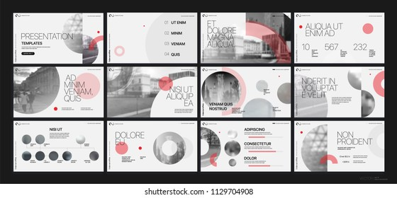 Presentation template. Red geometric elements for slide presentations on a white background. Use also as a flyer, brochure, corporate report, marketing, advertising, annual report, banner. Vector