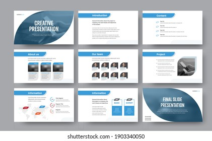 Presentation of templates for business, blue lines and elements for photo on a white background. Infographic flyer, corporate identity brochure for annual report and analytics. Project concept booklet