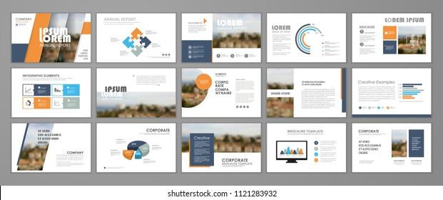 Presentation templates for business booklet, corporate report, flyer and leaflet, banner, mockups, slideshow, startup.