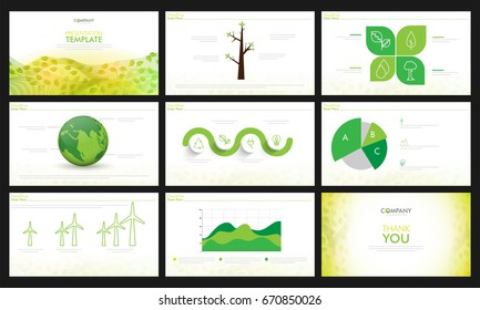 Presentation templates for Ecology concept. Environmental leaflet, brochure, flyer and cover design.