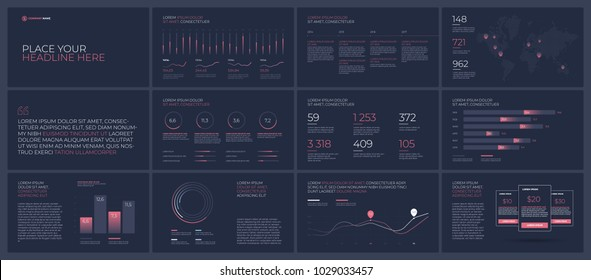 Presentation templates elements on a dark background. Vector infographics. Use in Presentation, flyer and leaflet, corporate report, marketing, advertising, annual report, banner.