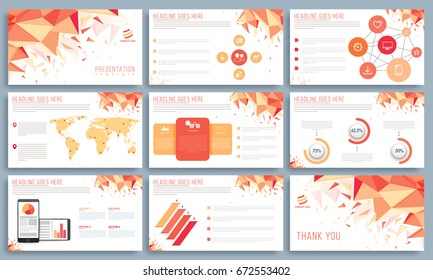 Presentation Templates with infographic elements and web symbols. Abstract background with geometric polygonal shapes.
