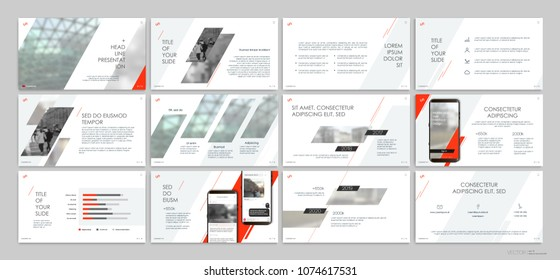 Presentation templates with red elements on a white background. Vector infographics. Use in presentations, leaflets and leaflets, corporate report, marketing, advertising, annual report, banner.