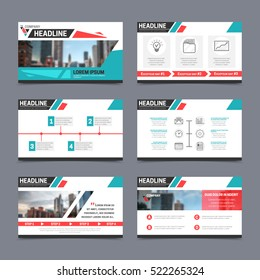 Presentation templates set with abstract design isolated vector illustration