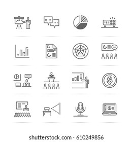presentation vector line icons, minimal pictogram design, editable stroke for any resolution, business communication concept