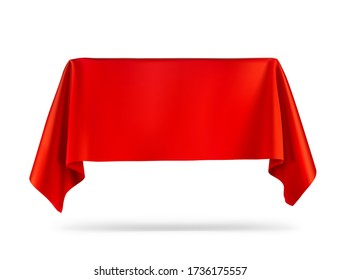 Presentation view. Red tablecloth draped over a product, subject. Vector illustration on white background. Ready for your design, promo, presentation. EPS10.