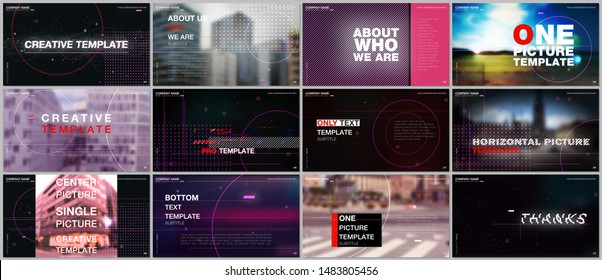Presentations design vector template with technology backgrounds, glitches, lines, dots and circles. Templates for presentation slide, flyer leaflet, brochure cover. Hi-tech futuristic graphic concept