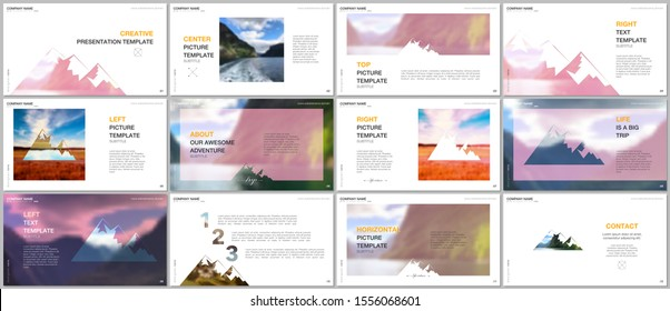 Presentations design, vector templates. Background for tourist camp, nature tourism, camping. Aadventure design concept. Multipurpose template for presentation slide, flyer leaflet, brochure cover.