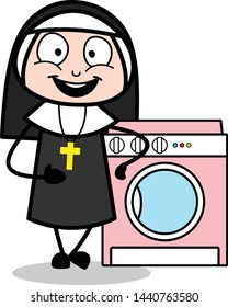 Presenting a Washing Machine - Cartoon Nun Lady Vector Illustration