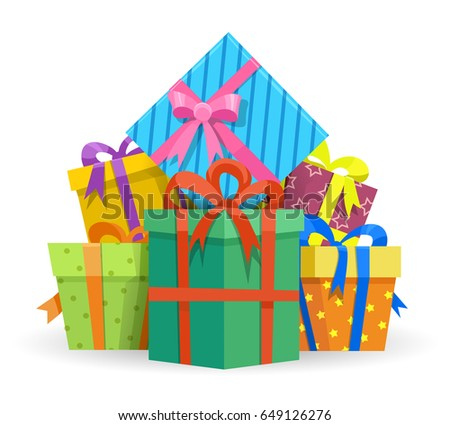 Presents Gifts Boxes Isolated On White Stock Vector Royalty Free