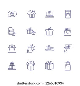 Presents line icon set. Gift boxes, gadget, online order. Celebration concept. Can be used for topics like delivery, internet store, shopping