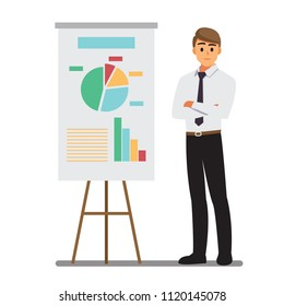 Presents planning board ,Businessman character