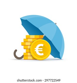 Preservation and protection of money. A stack of euro coins under a blue umbrella