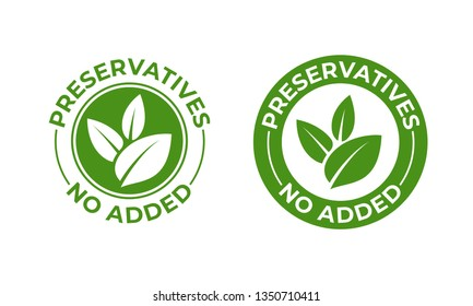 Preservatives no added vector green organic leaf icon. Preservatives free, natural organic food package stamp