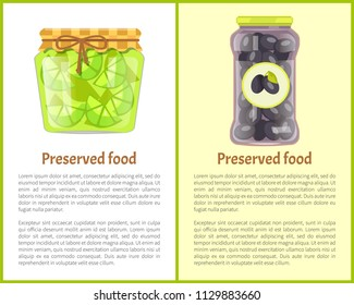 Preserved food poster lime or lemon and black picked olives home cooked jam in small glass jar. Citrus confiture and snacks in containers vector with text