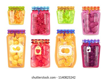Preserved fruit in glass jars set vector illustration. Raspberry and strawberry, peach and orange, plum and blueberry jam, lemon citrus marmalade