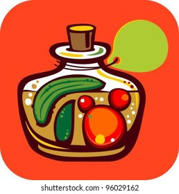 Preserves with Tomato and Cucumber on orange