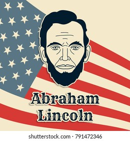 President Abraham Lincoln vector poster, banner or postcard. Black and white cut paper portrait on US flag background