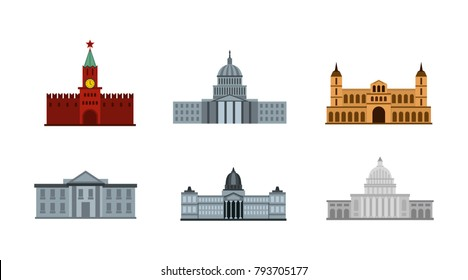 President building icon set. Flat set of president building vector icons for web design isolated on white background
