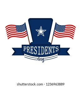 President day banner with two flags of United States and traditional hat. Vector illustration design