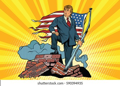 President Donald trump with USA flag, on the ruins
