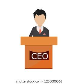 president speech flat icon - public speaker character vector Illustration. CEO