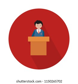 president speech with podium flat icon - public speaker character vector Illustration. CEO