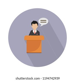 president speech with podium flat icon - public speaker character vector Illustration. CEO - podium
