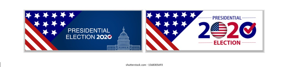 Presidental election set of banners with USA symbols. Presidental election 2020. Election banner Vote 2020 with Patriotic Stars.