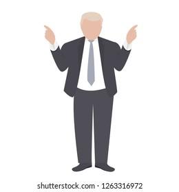 Presidential candidate speaks to people from tribune. Flat tribune Icon web. President debates. Vector illustration