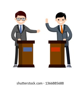 Presidential debate. Dialogue between the two men behind the podium. The speech of the lecturer at lectures. Political election and voting. Controversy guys in suits. Red vs blue